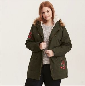 Torrid Jacket Army Green With Roses Hooded Anorak